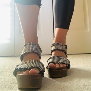 WANTED Metallic Woven Strap Wedges